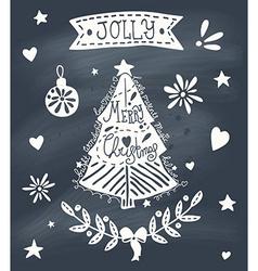 Christmas greeting card with sketchy Christmas vector image vector image