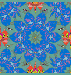 embroidery colorful floral seamless pattern with vector image