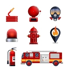 Firefighter elements set collection vector image