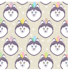 husky seamless background vector image vector image