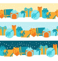 Seamless celebration borders with colorful gift vector image vector image