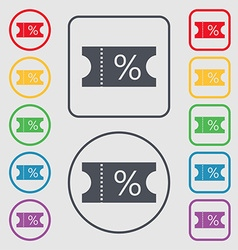 Ticket discount icon sign symbols on the round and vector