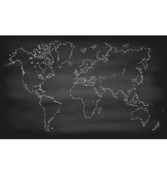 World Map Contour Chalkboard Blackboard vector image