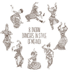 different indian dancers vector image vector image