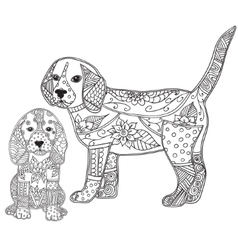 Dog and puppy adult antistress or children vector image