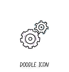 Doodle icon of gears Technology mechanics team vector image