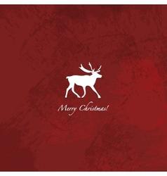 Grunge red reindeer background vector image vector image