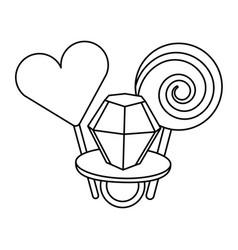 lollipops and ring diamond cartoon image vector image