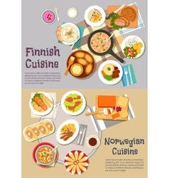Popular dishes of finnish and norwegian cuisines vector image