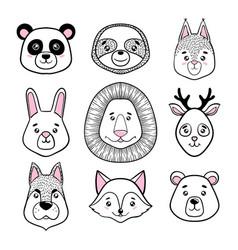 set of cute animal faces black white panda vector image