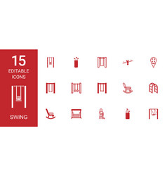 15 swing icons vector image
