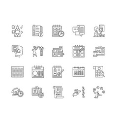 agenda line icons signs set outline vector image