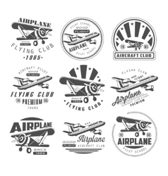 Airplane club emblems vector