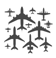 Airplane silhouette top view vector