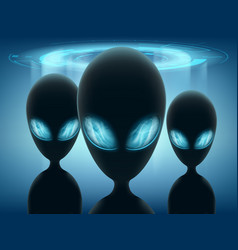 Aliens stand on background glowing ufo vector