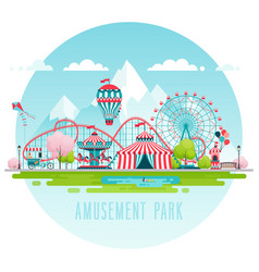 Amusement park urban landscape vector