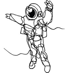 Astronaut in spacesuit in space continuous line vector