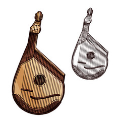 bandura ukrainian music instrument isolated sketch vector image