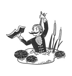 Baron munchausen sketch vector