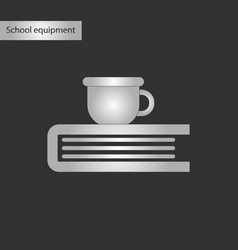Black and white style icon of book cup vector