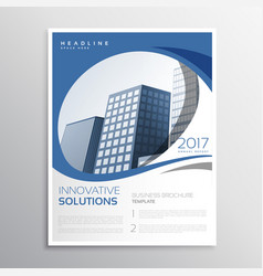 Blue business flyer leaflet annual report cover vector