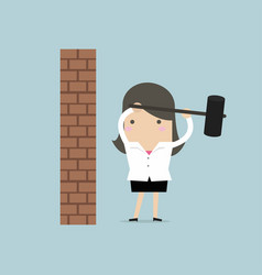 Businesswoman breaking wall with hammer vector