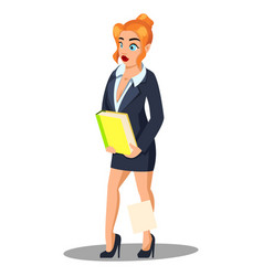 businesswoman holds a folder with files woman in vector image