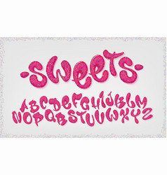 Candy hand drawn typeset sweet alphabet vector