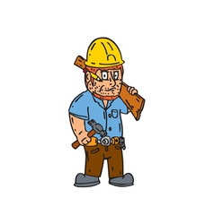 Carpenter Builder Hammer Wood Plank Cartoon vector image