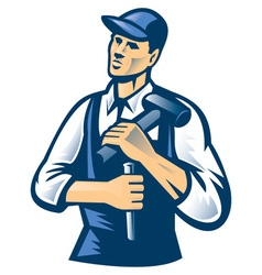 Carpenter wearing hat vector