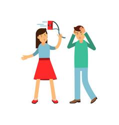 Cartoon furious girl shouting and swinging her bag vector
