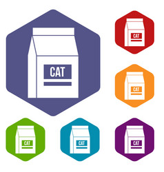 Cat food bag icons set hexagon vector