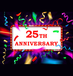 colorful 25 date celebration background vector image