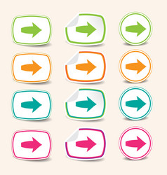 colorful arrow stickers vector image