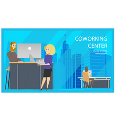 Coworking reception man invite woman banner vector