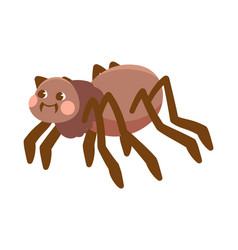 cute black smiling spider on white background vector image