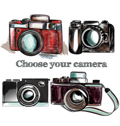 Cute hand drawn vintage cameras set vector