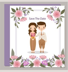 Cute thai bride and groom in traditional dress on vector