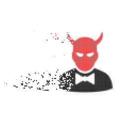Devil dispersed pixel icon vector