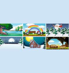 different scene nature vector image