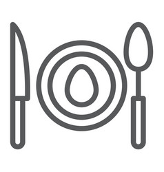 Dinner line icon food and dishware plate sign vector