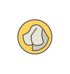 dog head in yellow circle icon vector image