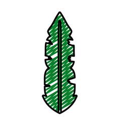 Doodle botanic tropical leaf natural style vector