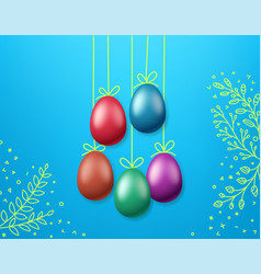 Easter greeting card template color eggs on rope vector