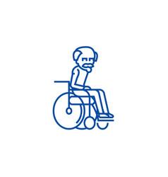elder man in wheelchair line icon concept elder vector image