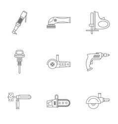 Electric tool icon set outline style vector