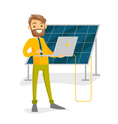 Engineer of solar power plant working on a laptop vector