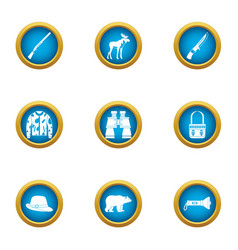 Experienced survivalist icons set flat style vector