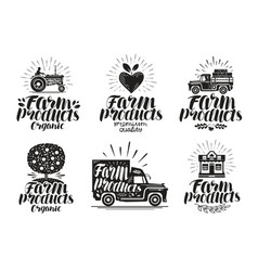 Farm product label set agriculture farming icon vector