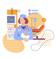 female doctor in clinic flat stylized vector image